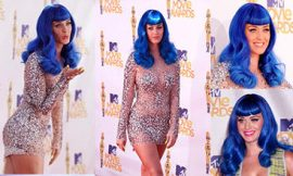 Katy Perry Long Blue Hair Bangs