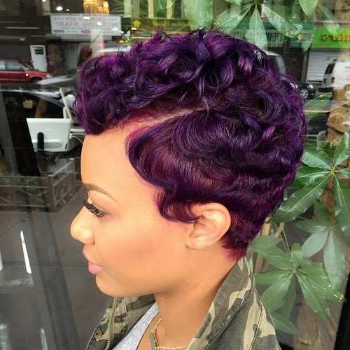 Curly Purple Pixie
