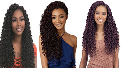 Dashing 3 Faux Locs with curly Hair