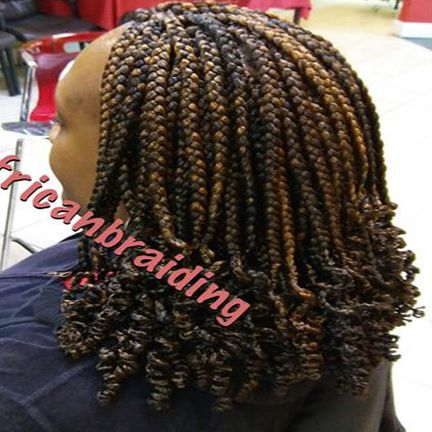 Medium Length Small Box Braids With Curly End