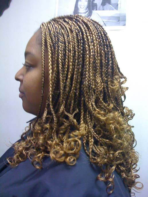 Pure Blonde Hair Box Braids & Curls End