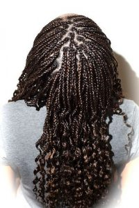 Simple Black Braids with Curls