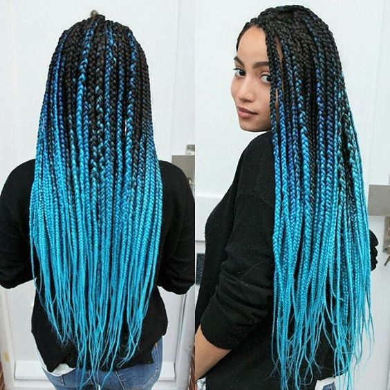 Box Braids with Cornflower Blue Back