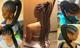 Attractive 8 Feed in Braids Ponytail for Women