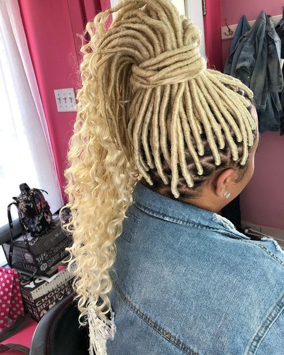 Blonde Protective Locs with End Curly