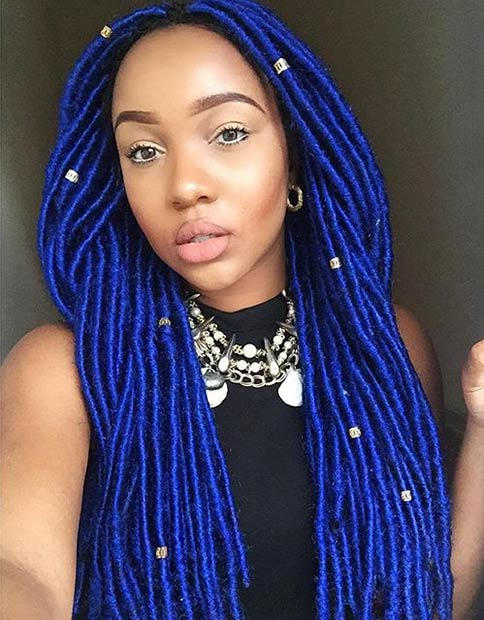 Faux Locs with Blue Marley Hair