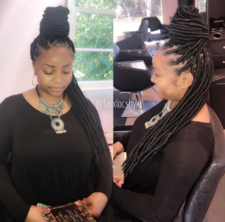 Long Bun Faux Locs for Black Women