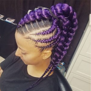 Purple Braids with Rubber Brand