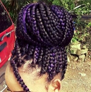 Purple Braids Bun
