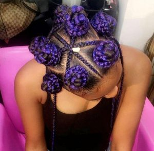 Purple Dome Braids Bun