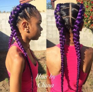 Feed in Braids with Purple Color Hair