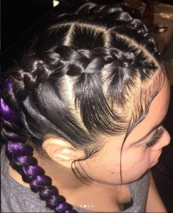 Easy Braids with Purple Color Hair