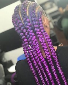 Braids Bun with Deep Purple Color