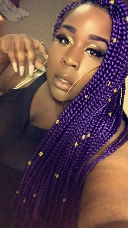 Long Purple Braids with Beads