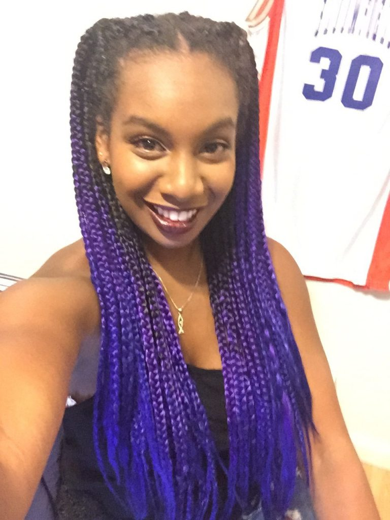 Long Braids with Purple Color