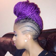 Purple Braid Bun With Clippers