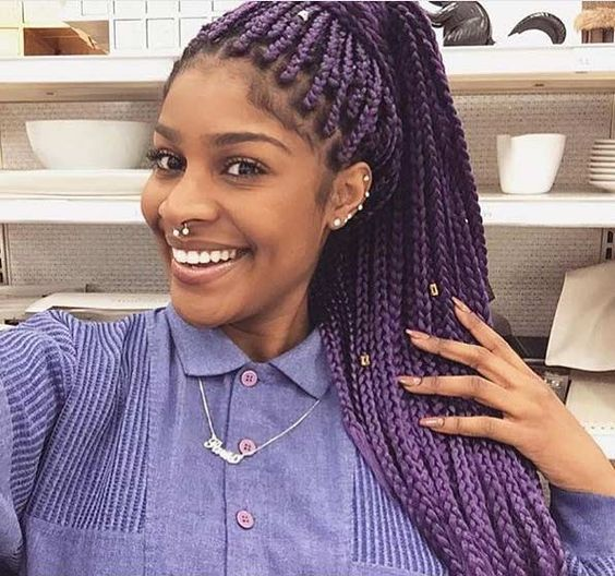 Striking 25 Purple Braids On Dark Skin New Natural