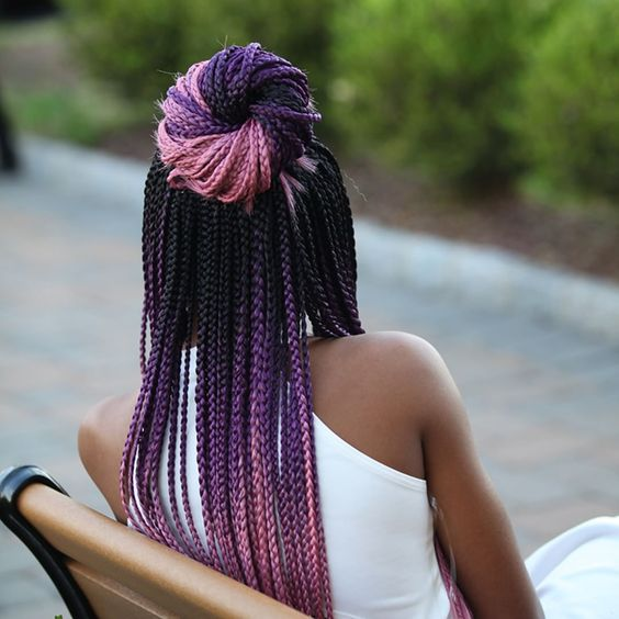 Purple Black Braids Bun Back