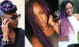 Purple and Black Box Braids