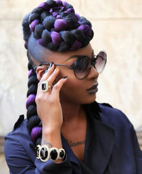 Single Jambo Braids with Purple Black Mixed