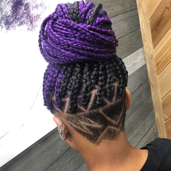Purple Black Braids Bun
