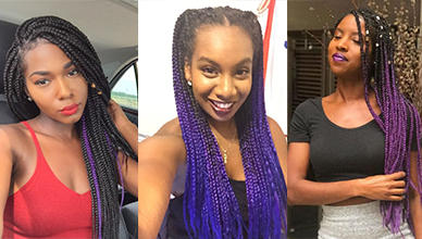 Striking 25 Purple Braids on Dark Skin