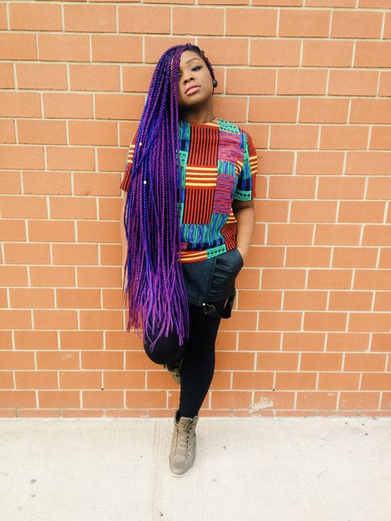 blue and black box braids