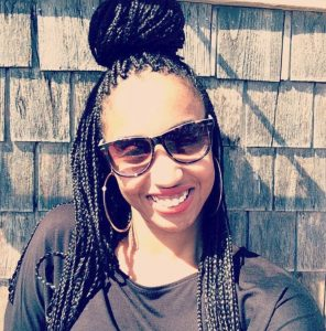 Box Braid Bun with Glasses
