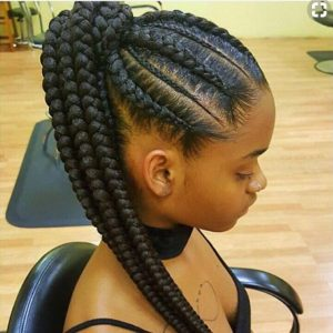 Fair Feed in Braids with Ponytail