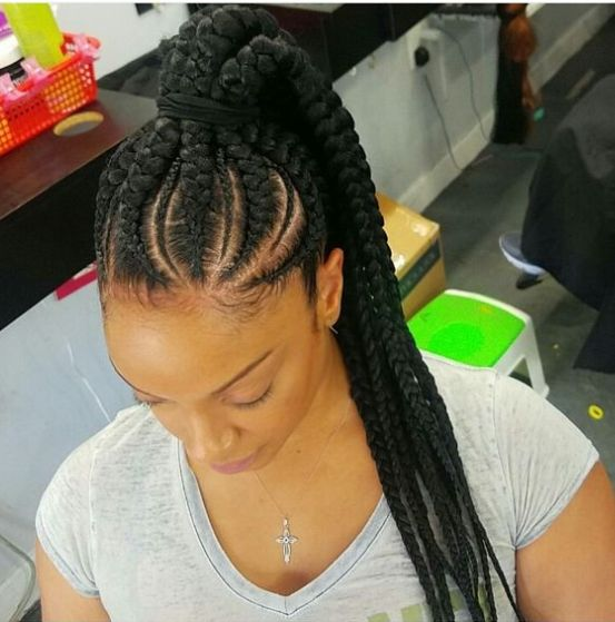 Fair Feed in Braids with Ponytail for Medium Length Hair