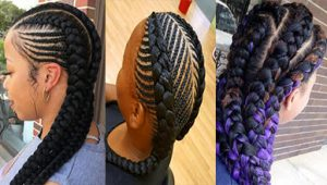 2 Goddess Braids with Weave