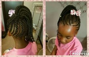 Braids Ponytail with Flower Hair Band