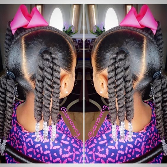 Multi Ponytail Hair Twist with Beads End