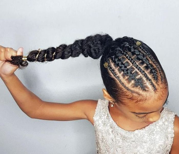 Feed in Braids with Beads Ponytail End