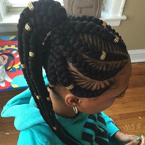 Braids with Beads Ponytail