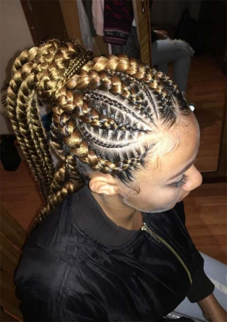 Blonde Black Petty Jumbo Braids Ponytail