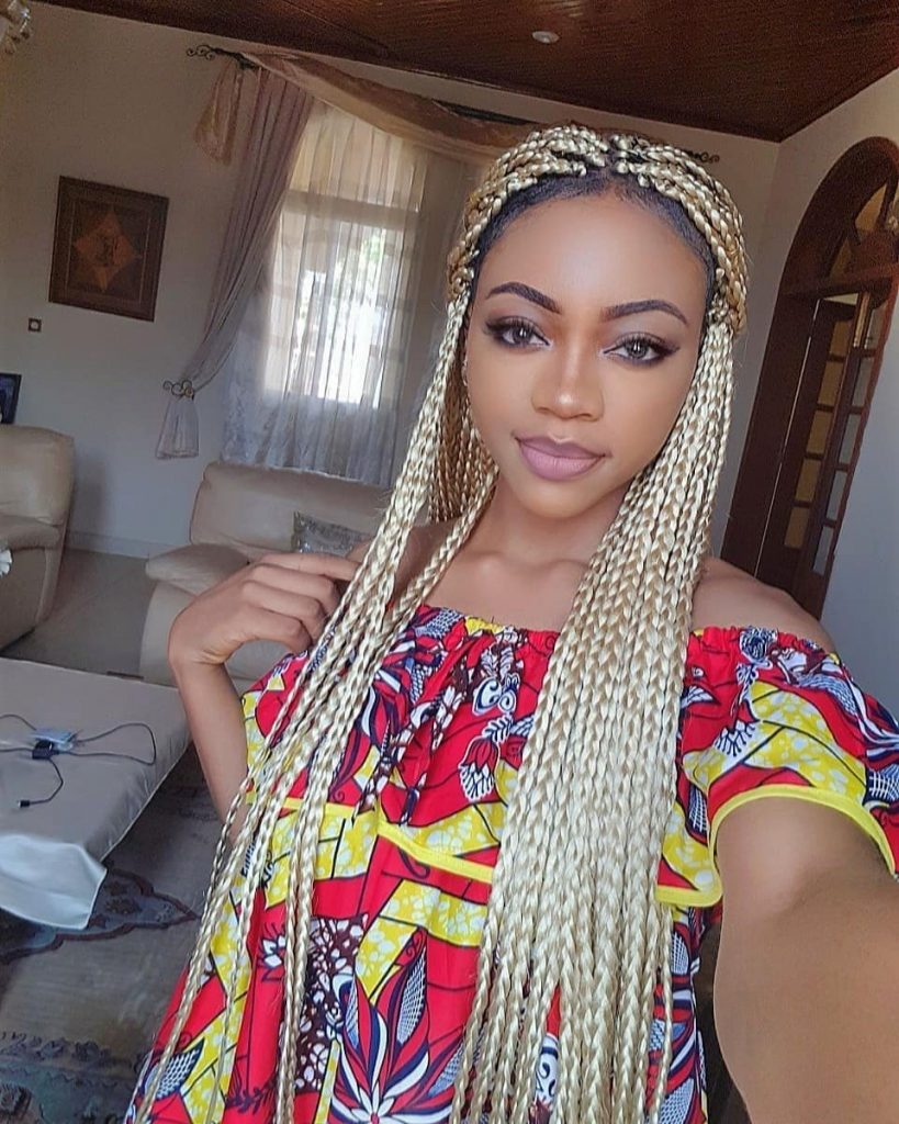Long box braids blonde on black hair