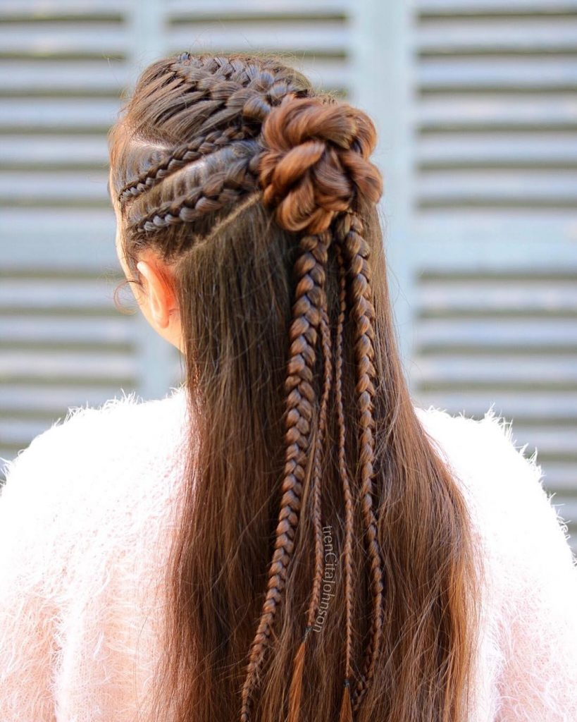 Braids Bun with End Loose