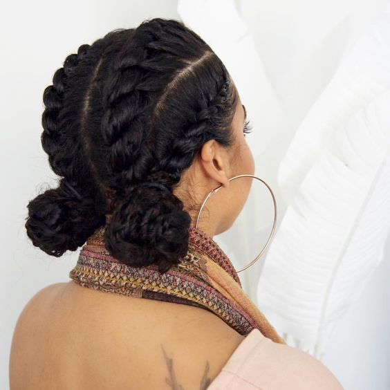 Cute 2 Low Bun with Braids