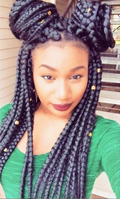 Beautiful Boxbraids with beaded Bun