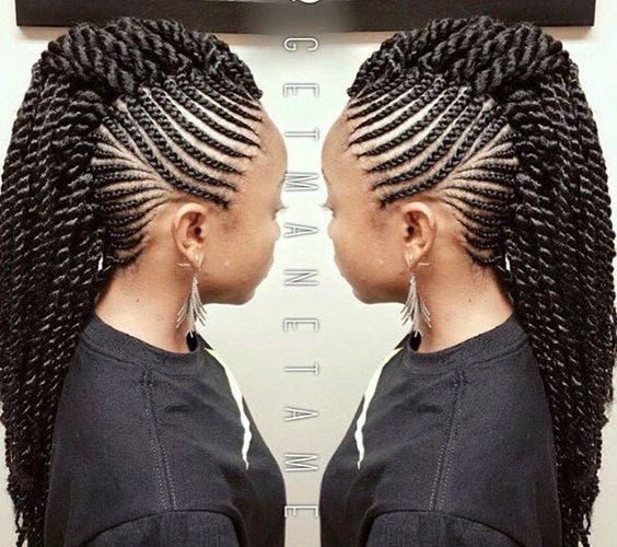 Twists Mohawk With Side Cornrows
