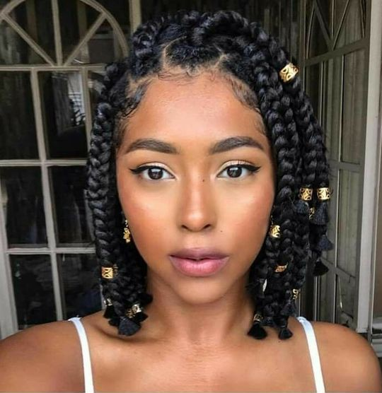 Short Braids with Beads