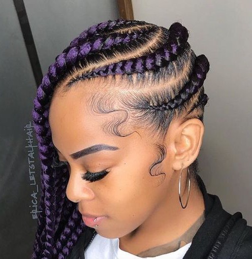 Colored locs and Cornrows