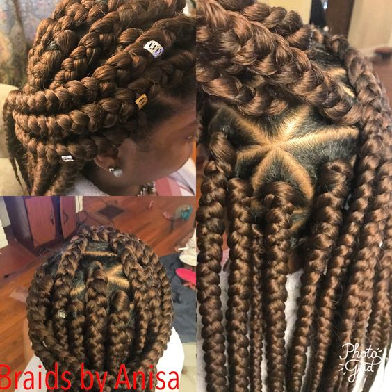 Triangle part jumbo box braids