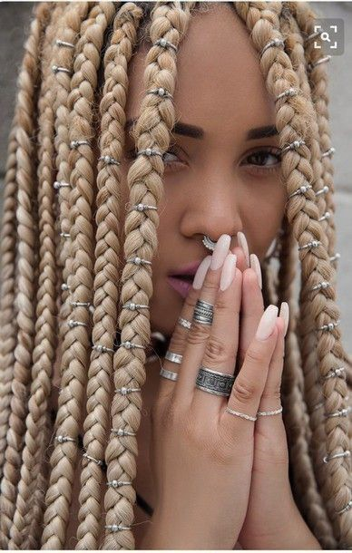 Cool Edgy Alternative Blonde Box Braids Silver Hair