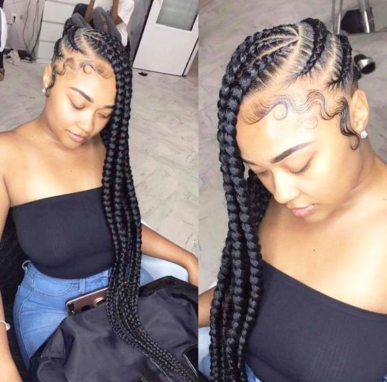 Long Braided Side COrnrows