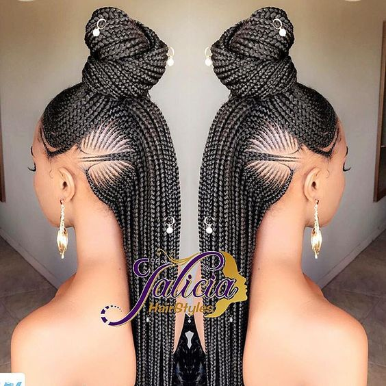 COrnrows Braids bun and ponytail with beads