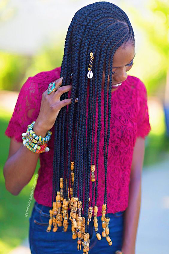 One Sided Cornrows with beads