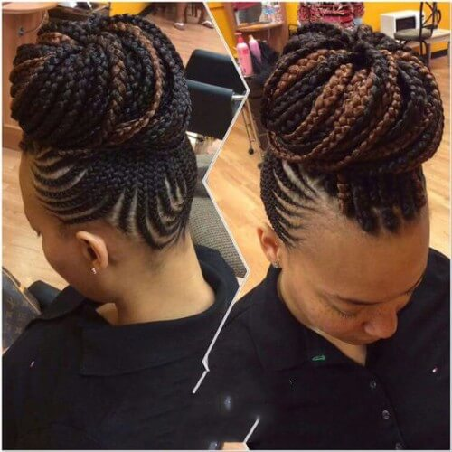 Box Braided Highlighted Bun
