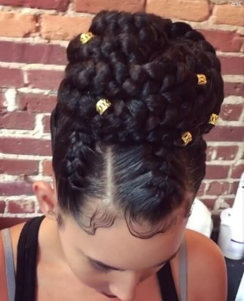 Cornrows Braided Bun with Beads